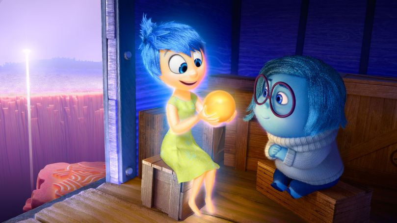 Joy & Sadness observe some memories in Inside Out