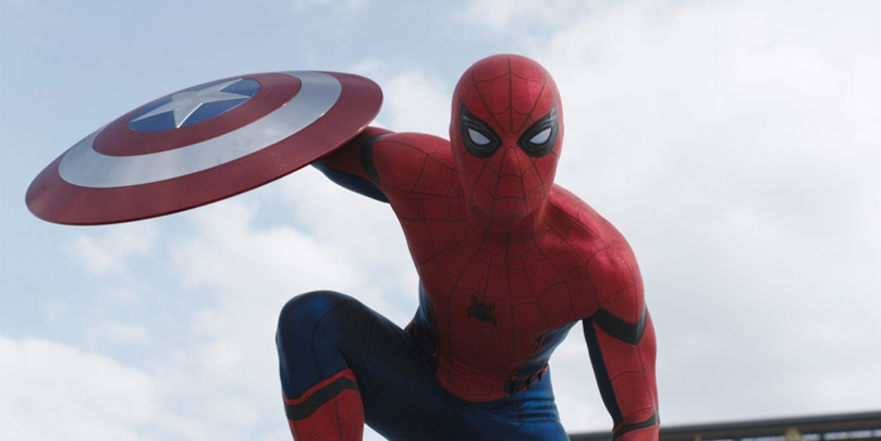 Tom Holland as Spiderman in Captain America: Civil War