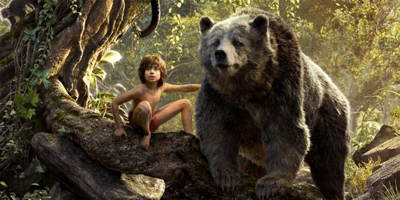Neil Sethi & Bill Murray as Mowgli and Baloo in The Jungle Book